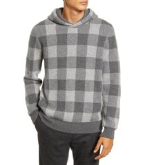 men's vince buffalo check slim fit cashmere hooded sweatshirt