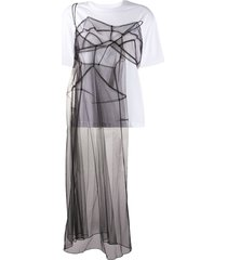 quetsche sheer tulle panel t-shirt - white