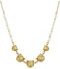 2028 women's multi cat face with imitation pearl chain necklace