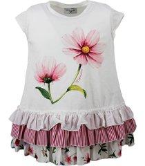 monnalisa maxi sleeveless crew neck t-shirt with flower print