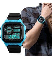 skmei contra agua reloj rectangular cronómetro deportivo