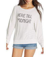 women's wildfox till midnight graphic sweatshirt, size x-small - white