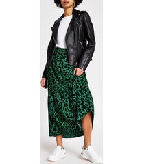 river island womens green floral tiered smock maxi skirt