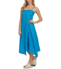 dkny linen handkerchief-hem dress