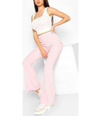 basic geribbelde broek met wijd uitlopende pijpen, roze