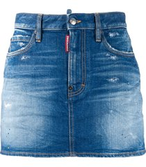dsquared2 faded distressed denim skirt - blue