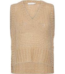 vest with v-neck and slits vests knitted vests beige coster copenhagen