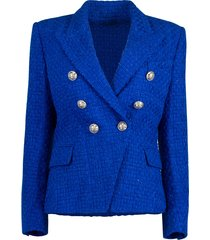 electric blue six button tweed jacket