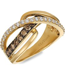 le vian women's chocolatier® 14k honey gold™, chocolate diamond® & vanilla diamond® ring/size 7 - size 7