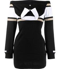 lourdes logo-print drop-shoulder fitted dress - black