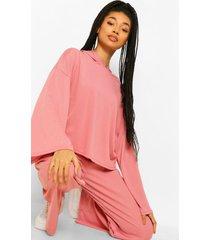 geribbelde hoodie met wijde mouwen en wide leg broek set, dusky pink