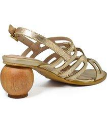 sandalia cuero dorado tacón madera redondo versilia tolola