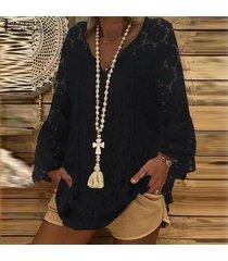 zanzea mujer de encaje de ganchillo cuello en v tapas flojas playa de las señoras del vendaje camisas de la blusa -negro