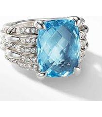 david yurman tides blue topaz statement ring with diamonds, size 5.5 in silver/diamond/blue topaz at nordstrom