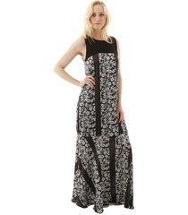vestido aha longo estampado com pala lisa 1 preto