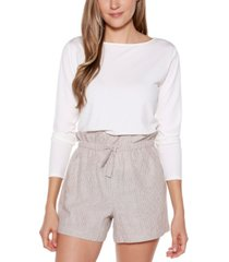 belldini black label striped belted shorts