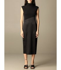 theory dress theory midi dress in satin and stretch cotton