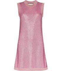 gucci strass crystal knit tunic dress - pink