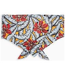 tropical floral print scarf bandeau top - blue