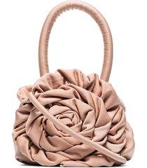 staud ruched rose-style bracelet bag - pink