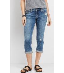 silver jeans co.® womens elyse marble wash capri blue denim - maurices