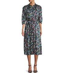 quarter-sleeve floral midi dress