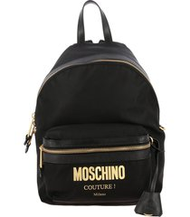 moschino couture backpack moschino couture canvas backpack with maxi laminated logo