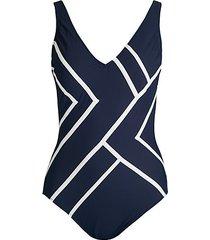 chevron-print v-neck one-piece swimsuit