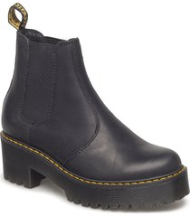 rometty black burnished wyoming shoes chelsea boots svart dr. martens