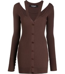 adamo ribbed-knit v-neck cardigan - brown