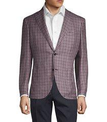 plaid-print wool, silk & linen blend sport jacket
