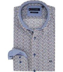 overhemd giordano blauw gele print regular fit
