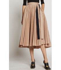 proenza schouler pleated poplin wrap skirt light khaki/neutrals 6