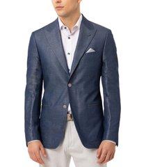 tallia men's slim-fit vanya blue metallic solid sport coat