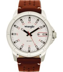 wrangler men's, 48mm silver case with white dial, white index markers, sand satin dial, analog, date function, red second hand, brown strap with white accent stitch