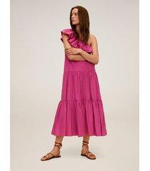 asymmetrische jurk met ruche