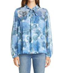 women's loveshackfancy gamela tie neck silk top, size x-small - blue