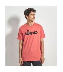 camiseta manga curta com estampa blink 182 | blink 182 | vermelho | p