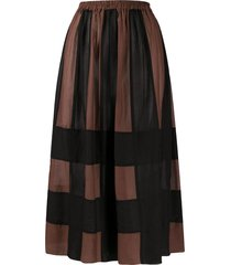 alysi check patterned elasticated waist skirt - brown