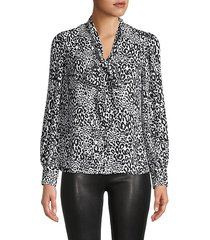 animal-print tieneck blouse