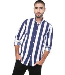 camisa masculina manga larga blanca rayas azules gruesas los caballeros