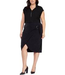 black tape plus size faux-wrap pencil skirt