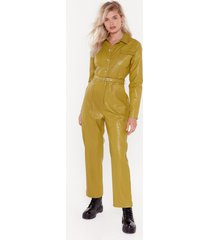womens life on mars faux leather belted jumpsuit - lime