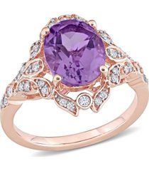 amethyst (2 1/5 ct. t.w.) and diamond (1/5 ct. t.w.) vintage ring in 14k rose gold