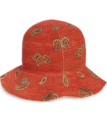 etro st. tropez paisley raffia hat, size 58 eu in rosso at nordstrom