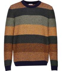 multi colored striped o-neck knit - gebreide trui met ronde kraag multi/patroon knowledge cotton apparel