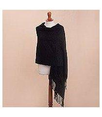 alpaca blend shawl, 'soft surround in black' (peru)