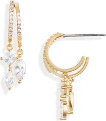 women's nordstrom cubic zirconia double row huggie hoop earrings