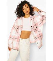monochrome geruite trucker jas, roze