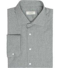 camicia da uomo su misura, canclini, flanella tinta unita grigia, autunno inverno | lanieri